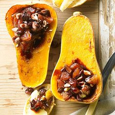Roasted Butternut Squash Filled with Port-Soaked Fruit To eat this fun starter, top a slice of toasted bread with a slice of white cheddar, then scoop some of the fruit mixture and the roasted squash (right out of its skin!) onto the toast.