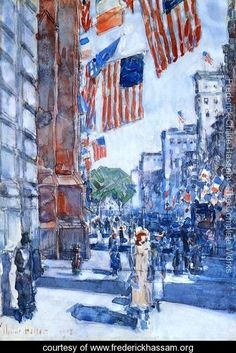I became enamored with this painting when I read Mrs. Astor Regrets... Flags, Fifth Avenue - Frederick Childe Hassam