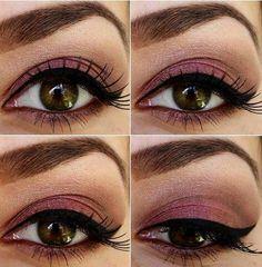 Tips for Mary Kay makeup- Sweet Plum, Cinnabar, and Crystalline w/ Black liquid eyeliner. Hazel Eye Makeup, Hazel Eyes, Love Makeup, Makeup Tips, Hair Makeup, Makeup Ideas, Makeup Inspo, Fancy Makeup, Casual Makeup