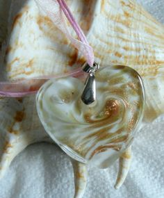 Clear White Lampworked Heart Pendant Necklace,  Gold Swirl Accent Heart Pendant in Light Pink Cord and Lace, Heart Glass Bead Pendant by lanesamarie on Etsy