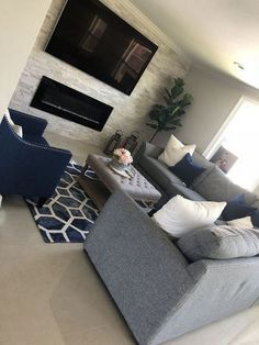 Remarkable Small Living Room Remodel Interiors Ideas - All About Decoration Navy Living Rooms, Blue Living Room Decor, Living Room Color Schemes, Small Living Rooms, Rugs In Living Room, Living Room Designs, Modern Living, Grey Living Room Furniture, Navy Blue And Grey Living Room