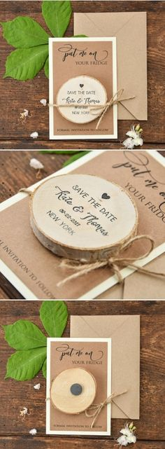 Perfect idea for rustic Save the Dates! Card with wooden magnet #weddingideas