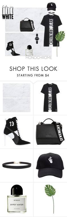"""""""Black White"""" by ulfahkhrnnisa ❤ liked on Polyvore featuring Calvin Klein Jeans, Puma, Givenchy, Humble Chic, Byredo, Movado, monochrome and polyvorecontest"""