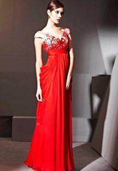 Red V-neck Art Pattern High-Waist  Dress 81135