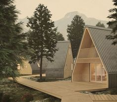 Good and cheap: Beautiful prefabricated houses under euros- Gut und günstig: Schöne Fertighäuser unter Euro A prefabricated house to unfold: This type of finished log cabin comes from Italy. Architecture Durable, Wood Architecture, Prefab Cabins, Prefabricated Houses, A Frame House Kits, A Frame Cabin, Cabin Design, Kit Homes, Cabin Homes