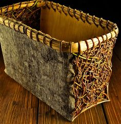 Poplar Bark & Hand woven Willow basket with Hickory bark rim & lacing by Mark Hendry for Organic Artist Tree, Blue Ridge GA 30513 Art / Craft