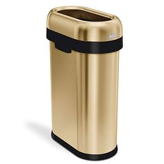 simplehuman 50 Liter / Gallon Slim Open Top Trash Can, Commercial Grade, Heavy Gauge Brass Stainless Steel Black And Gold Bathroom, Brass Bathroom, Bathroom Small, Bathroom Fixtures, Bathroom Ideas, Kitchen Trash Cans, Gold Kitchen, Kitchen Decor, Lobbies