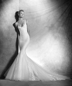 Vegas, vestido de noiva estilo sereia, decote redondo, estilo romântico