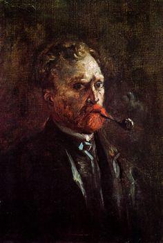 "Vincent van Gogh: ""Self-Portrait with Pipe"",1886. (Van Gogh Museum, Amsterdam, Netherlands.) http://www.vangoghmuseum.nl/"