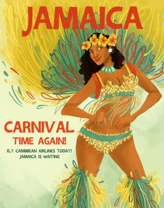 A1 SIZE POSTER PRINT VINTAGE ART JAMAICA TRAVEL CARNIVAL