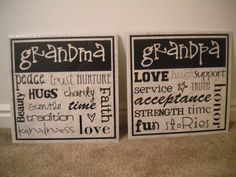 Gift idea for Grandparents -- Tiles with vinyl subway art