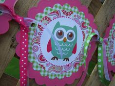 Newborn - 12 Month Photo Banner DIY Printable for Baby's 1st Birthday Party in Adorable Pink and Green Paisley Design with Owls