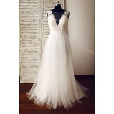 A-line+Wedding+Dress+-+Glamorous+&+Dramatic+See-Through+Wedding+Dresses+Sweep+/+Brush+Train+V-neck+Lace+/+Tulle+with+Lace+/+Button+–+USD+$+139.99