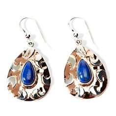 Jay King Lapis Pear-Shape Sterling Silver and Copper Drop Earrings at HSN.com.