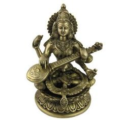 Collectible Figurines Hindu Religious Brass Sculpture of Goddess Saraswati Size : 14.60 x 14.60 x 22.86 Cm