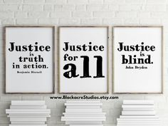 Justice Print Set - Gift Pack - Law School Graduation Gift - Lawyer Gift - Home Decor - Office Art - Print Set - New Attorney Gifts