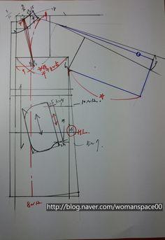 [하이넥프렌치소매코트] 패턴그리기 : 네이버 블로그 Easy Sewing Patterns, Coat Patterns, Clothing Patterns, Dress Patterns, Sewing Coat, T Dress, Pattern Drafting, Pattern Making, Pattern Fashion