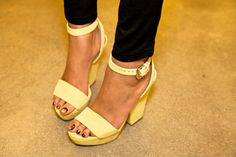 canary yellow sandals with metallic nail polish