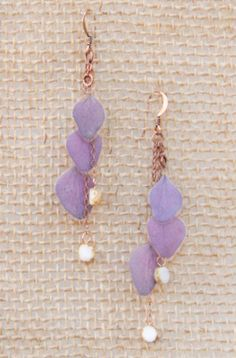 Purple Hydrangea Pressed Flower Petal Earrings with Butter Pecan Czech Glass Beads