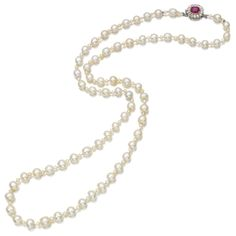 PROPERTY FROM THE ESTATE OF MARY, DUCHESS OF ROXBURGHE: Natural pearl, ruby and diamond necklace, early 20th century. Composed of a single row of sixty-six natural pearls interspersed with seed pearls, on a cushion-shaped ruby and single-cut diamond cluster clasp.