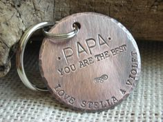 Keychain for Papa, Father's Day Gift, Copper Handstamped Keychain for Dad,Personalized Keychain for Father,Dad Keyring,Gift for Dad