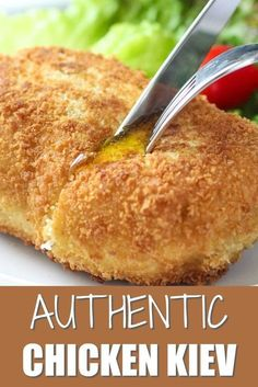 Homemade Chicken Kiev This oven fried Chicken Kiev is a chicken comfort food that is perfect for dinner recipe for family or Sunday night meal. Chicken Kiev Recipe, Breaded Chicken Recipes, Oven Fried Chicken, Crispy Chicken, Homemade Fried Chicken, Frango Chicken, Ukrainian Recipes, Ukrainian Food, Best Oven