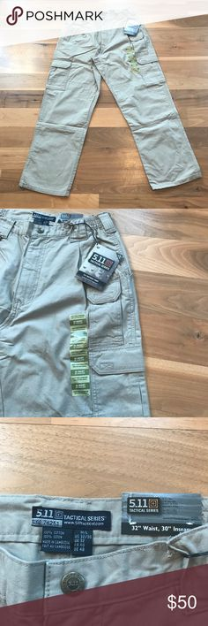 "5.11 Tactical Men's Khaki Cargo Pants size 32""x30"" 5.11 Men's Tactical Pants Khaki Cargo Size 32""x30"" Rise is 12"" New With Tags 5.11 Tactical Pants Cargo"