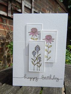 Stampin Up - SAB2016 Flowering Fields; Simon Says Stamp - Handwritten borders; Distress Inks - Picked Raspberry and Shaded Lilac; WOW Gold Embossing Powder; Versamark Ink; Lawn Cuts Stitched Rectangles