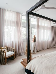 Home Decor Bedroom, Master Bedroom, Sheer Curtains Bedroom, Block Out Curtains, Diy Blinds, Aesthetic Rooms, Curtain Designs, Suites, Dream Rooms