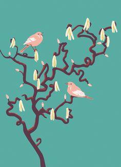 A lovely postcard for springtime. Illustrator, Spring Time, Birds, Flowers, Animals, Animales, Animaux, Bird, Animal