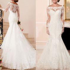 Vestidos De Noiva Lace Wedding Dresses Boat-Neck Long Sleeve Button Applique Sweep Train