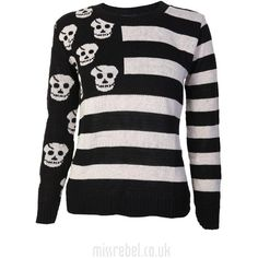 Stripe Skulls Jumper Black (€10) ❤ liked on Polyvore featuring tops, sweaters, shirts, long sleeves, stripe sweater, shirt sweater, skull sweater, checked shirt and striped long sleeve shirt
