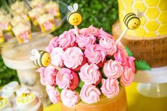 Bumble bees birthday party cake pops! See more party planning ideas at CatchMyParty.com!