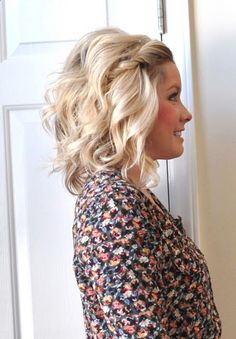 Bob haircut. Pulled back bangs are always a great way to style shorter hair, but twist them to add something extra. Combine the twist with a mixture of loose waves and beach texture and its a recipe for [...] - chicnest.net