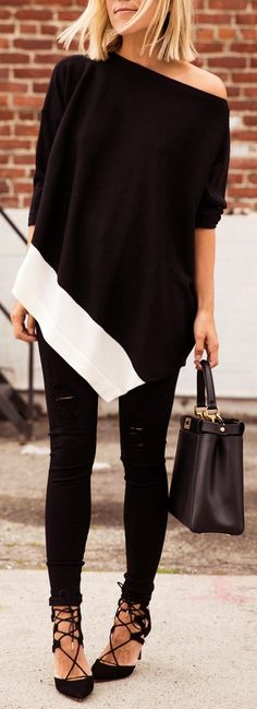 Black off the shoulder sweater.