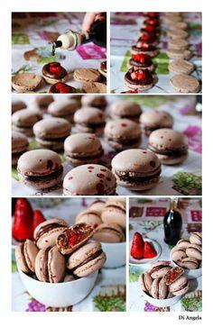 macarons al cioccolato con ganache al cioccolato, fragole e aceto balsamico