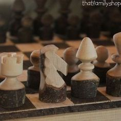Rustic Log Chess Set With Board by Andrew Lund