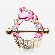 Golden Cupcake Delight Sparkle Sprinkles Nipple Shield Ring