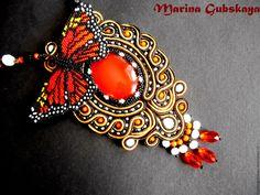 """Купить """"Полет Монарха"""" - комбинированный, черный, чёрно-белый, белый, оранжевый, бабочка, монах, сутаж"""