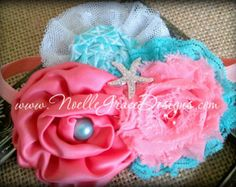 turquoise and coral dress for girls | Coral & Aqua Mermaid Flower Headband - baby, newborn, little, girl ...