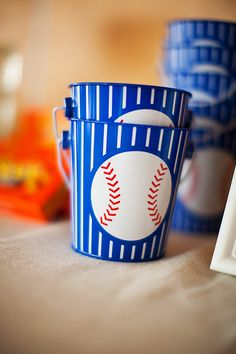 Baseball party inspiration board by Bella Bella Studios~ baseball party favors - could fill with peanuts, scorecards, pencils, cracker jacks.or other baseball related stuff photo via On To Baby Baseball Party Favors, Baseball Treats, Baseball Buckets, Baseball Birthday Party, Sports Birthday, Boy Birthday Parties, Baseball Table, Birthday Ideas, Baseball Cupcakes