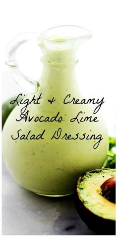 Light and Creamy Avocado-Lime Salad Dressing – Tangy,smooth, lightened up Avocado Salad Dressing with lime juice and creamy yogurt. Avocado Salad Dressings, Avocado Oil Salad Dressing Recipe, Salad With Avocado Dressing, Avocado Cilantro Lime Dressing, Chili Lime Dressing Recipe, Sour Cream Salad Dressing, Avocado Vinaigrette, Avocado Juice, Avocado Salad Recipes