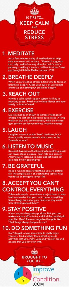 Taking a break from study, research and writing reduces stress. Infographic offers some tips to keep calm when the pressure is on.