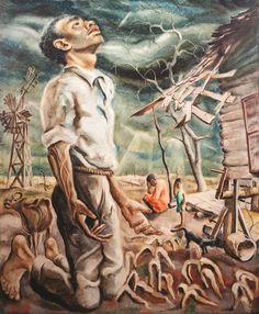 oseph Paul Vorst,  American (1897-1947) Drought, oil on masonite, signed lower left, framed. #art #american #wpa   www.linkauctiongalleries.com American Scene Painting, American Art, Art History, Joseph, Art Photography, Auction, Gallery, Painters, Framed Art