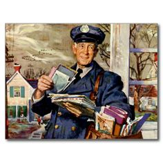 Shop Vintage Business, Mailman Delivering Mail Letters Poster created by YesterdayCafe. Personalize it with photos & text or purchase as is! Tarzan, Post Bus, Pocket Letter, You've Got Mail, Going Postal, Tromso, Norman Rockwell, Mail Art, Postcard Size