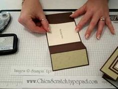 "Good Tutorial on making a tri-fold card with Stampin' Up! Demonstrator Angie Kennedy Juda Start with cardstock 11 x 4-1/4"" and score both of the long ends at 2"" and again at 3-3/4"""