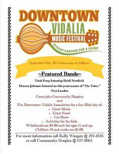 Downtown Vidalia Music Festival on September 12th!