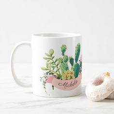 Cute Boho Personalized Cactus Coffee Mug