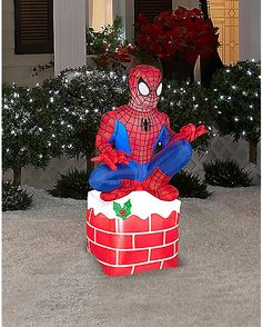 tall led inflatable christmas outdoor spider man sitting on chimney display w light
