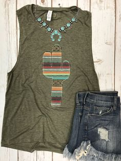 Serape cactus tank by Sweet Texas Treasures - PaintinG Summer Cowgirl Outfits, Country Outfits, Western Outfits, Girly Outfits, Western Wear, Trendy Outfits, Cute Outfits, Fashion Outfits, Bohemian Tops
